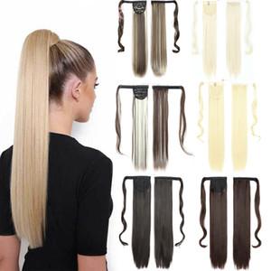 Envoltório de longa dérea em torno do clipe em ponytail extensão de cabelo resistente ao calor Fibra sintética pônei cauda 22 polegadas
