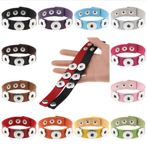 2020 New geflochtenes Leder 18mm Snap-Armbänder DIY Schnellknopf-Armband Austauschbare Snap-Schmucksachen für Frauen 21CM