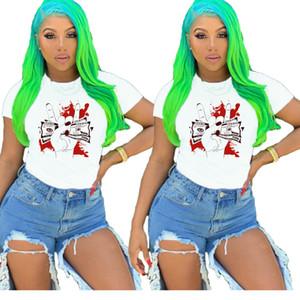2020 Womens Designer Tshirts Summer Short Sleeve Finger Dollar Print Crew Neck Tshirt Tops Woman Clothes
