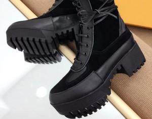 Heißer Verkauf- Frauen Damen PATCHWORK BLACK SUEDE REAL Leder mit CANVAS flache Plattform Lug Gummisohle Schnürung Military STIEFELETTEN