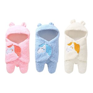 Newborn Baby Fleece Swaddlers with Hood Cartoon Horse Pattern Winter Infant Clothes Style Swaddlers Soft Warm