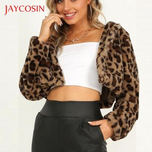 JAYCOSIN Warm Winter Autumn Short Leopard Print Jacket Women Fleece Jumper Soft Thick New Long Sleeve Teddy Jackets Coats 823#2
