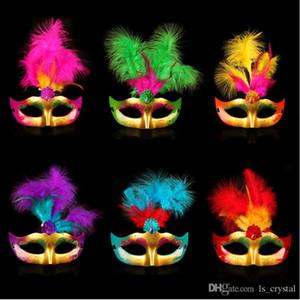 Multi Color Cosplay PVC Dance Bauta Sexy Hallowmas Venetian Mask Feather Mask Mask Face Party Half Masquerade Princess Decor Multi Colo Hpwb