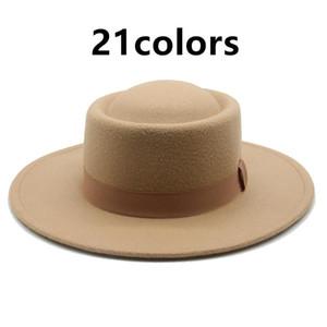 Geniş Brim Şapka Fedora Şapka Kadın Şerit Bant Kemer Klasik Elbise Örgün Domuz Pasta Yuvarlak Üst Beyaz Siyah Keçeli Kış