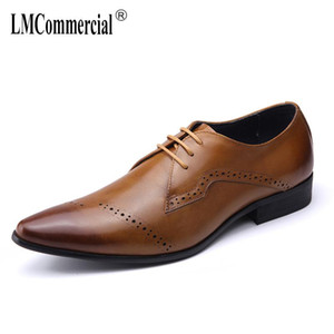 cowhide bullock business dress suit leather shoes designer shoes men high quality mens formal dress British retro