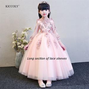 Киколи 2018 пользовательские новые элегантные девушки розовый кружевной рукавом платье ребенка первое общественное платье девочка формальное свадебное платье для 1-14T T200624