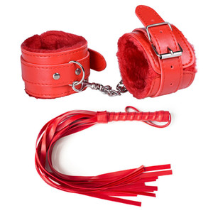 Adjustable leather Plush handcuffs handcuffs ankle whips stress clamping non adjustable adult toy vibrator, female game slave