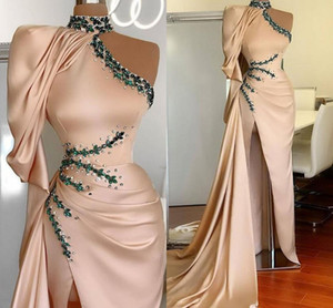 Champagne Satin Evening Dresses High Neck One Shoulder Side Split Sexy Muslim Arabic Prom Party Gowns Beaded Ruched robes de soirée AL8734