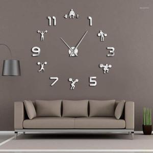 Weightlifting Sala de fitness decoração da parede DIY Gigante relógio de parede Espelho Efeito Powerlifting Frameless Grand Clock Gym Watch1