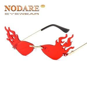 NODARE 2020 Hot Trending Limite Chama Sunglasses Mulheres liga aro de onda Óculos Partido Sun Light Gold Lens Amarelo