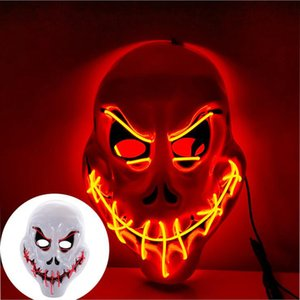 Halloween Led Light Up Mask, Purge Mask, Scary EL Wire Light up Mask Cosplay Led Costume Mask For Party and Festival