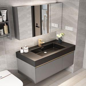 armoire de toilette intelligente combinaison évier salle de bains moderne en marbre ardoise rock lumière luxe minimaliste lavabo Locker + coiffeuse miroir + lavabo