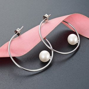 S925 sterling silver circular pearl earrings for women girls fashion luxury designer stud earrings jewelry anti allergic