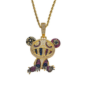 18K Yellow Gold Multi-color Iced Takashi Murakami Panda Pendant Necklace Micro Paved Zircon Mens Hip Hop Jewelry