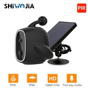 SHIWOJIA 1080P Mini Solar Camera Wifi Outdoor IP67 Waterproof Power Battery IP Camera 1080P PIR Surveillance Security CCTV Cam