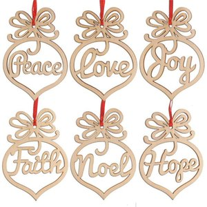New Christmas letter wood Heart Bubble pattern Ornament Christmas Tree Decorations Home Festival Pendant Hanging Gift