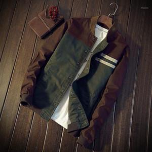 LNCDIS HOMBRES Invierno Cálido Nuevo botón Outdoor Patchwork Outwear Slim Long Trench Coat Windbreaker Hombres Autumn1