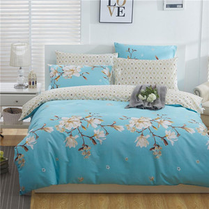 Blue Floral Duvet Cover Set 100% Cotton Soft Comfy Family Bedding Sets Comforter Cover Bed Sheet set Twin Full Queen King size
