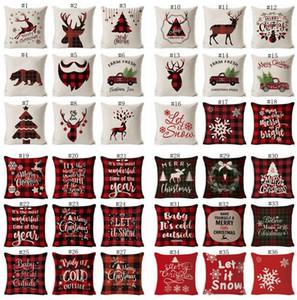 Noel Yastık Kamyon Noel Ağacı Holding Yastık Kapak Keten Karikatür Yastık Kapakları Retro Ekose Yastık Kılıfları Decoratio Yastık Kılıfı EWF2507