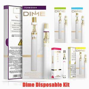 DIME Disposable Vape Pen Vaporizer Kit 350mAh Battery 0.5ml Empty 510 Ceramic Coil Thick Oil Cartridge 10 Colors With Retail Box