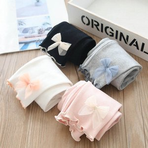 4Color Spring Autumn Girls Leggings Baby Tights Cotton Bowknot Trousers Kids Clothes Skinny Pants 1-5Y B3789