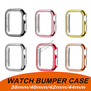 Fashion  Bling Bling Diamond Bumper Cover Case for apple watch iwatch 360 full cover protection case 38 40 42 44 mm with retail pack