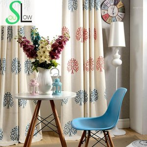 Slow Soul mission Tree Embroidery Curtain Fresh Natural Leaves Embroidered Curtains For Living Room Tulle Kitchen Bedroom1