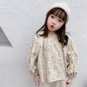New 2020 Spring Autumn Korean Baby Girls Bubble Sleeve Shirts Children Children's Shirts Baby Girls Floral Long Sleeve Shirt Q0203