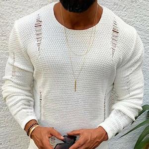 Homens rasgado camisola algodão macio Masculino inverno quente malha roupas de frio Casual Pullover O-Neck Men manga comprida rasgado Sweater