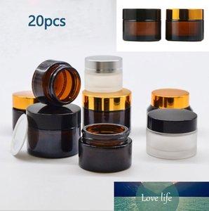 20шт (5 г / 10 г / 15g / 20g / 30g / 50g) Amber Clear Glass Jar Контейнер Косметика Крем Лосьон Порошковая Матовый Матовый горшок путешествия бутылки