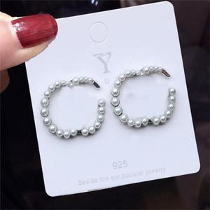 Vintage Pearl Earrings Tide Letters Studs for Women S925 Lovely Wild Letter Girl Earrings Birthday Anniversary Gifts