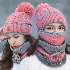 winter spring warm mask scarf hat set fur inside 3pcs suit ear protection biker bucket Beanie Skull Ponytail Detachable Pompom Hat wholesale