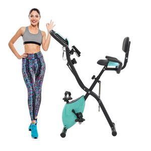 US Stock Exercise Bike with 10-Level Adjustable Resistance, Fitness Upright and Recumbent Bike, LCD Monitor, Arm Tension Straps MS192236AAC
