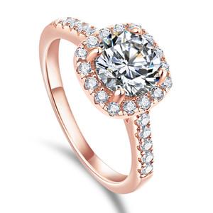 Princess Square Simulation Diamant-Ring-Frauen Sterlingsilber europäischen und amerikanischen Zircon Ehering