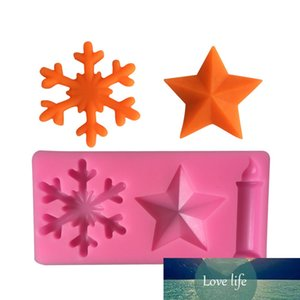 1PC 3D Silicone Moule Star Snowflake Savon Savon Moule Decoration Outil Sugar Craft Craft Craft Fondant DécorationA066