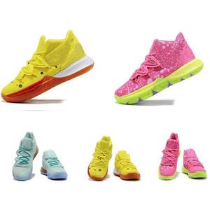 새로운 키즈 청소년 어린이 어린이 Kyrie 5 만화 스포츠 스니커즈 노란색 핑크 소년 신발 Kyrie Irving 낮은 2 탑 판매 Bob Eponge