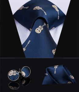 2019 Hi-Tie Mens Ties Guitar Novelty Necktie 100% Silk Blue Casual Style Design Wedding Ties Handkerchief Cufflinks Set G-3035