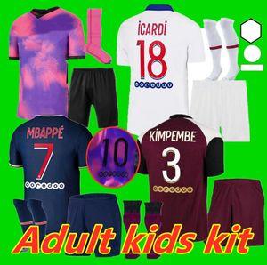 Взрослый Kids Kit 20 21 Icardi MBappe Marquinhos Soccer Jersey 2020 2021 Verratti Men Kids Mailot Kippembe Florenzi Mailoots de Футбольная рубашка K