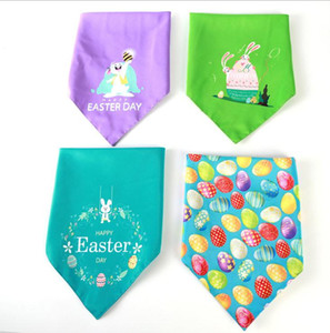 Easter Dog Bandana Double Happy Easter Egg Bunny Printed Triangle Bibs Pet Scarf for Medium to Large Dogs DB477