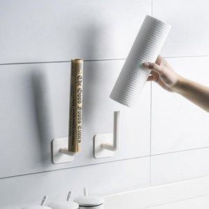 2pcs Toilette Porte-papier Stand Tissu Rack mural Multifonctionnel Multifonctionnel sans perforage de rangement Cuisine Salle de bain Organisateur
