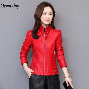 Giacca in pelle da moto Femmina Stand Collar Autunno Abbigliamento in pelle Abbigliamento Streetwear Cappotti di primavera rossa Top orwindny