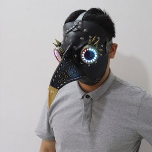 Full color LED lighting Steampunk Plague Bird Doctor Mask Brown PU Leather Bird Beak Mask Gothic Retro Halloween Cosplay