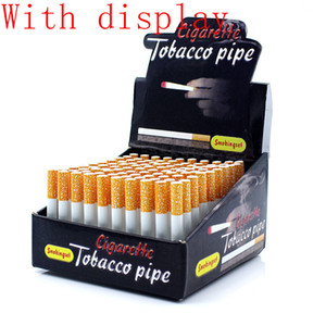 78mm 55mm Cigarette Smoking Pipes Mini Hand Tobacco Pipes Snuff tube One Hitter Bat metal oil burner pipes with display