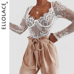 Ellolace Sexy Lace Bodysuit Women Deep-v Long Sleeve Rompers Bodycon Bodys Summer Overalls Female Mesh Fashion Jumpsuit Y200401