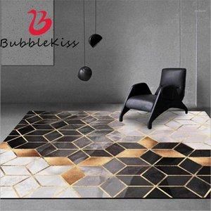 Bubble Kiss Tapis pour salon Golden Geometric Pattern Computer Chaise de plancher de cloakroom antidérapant Tapis confortable1