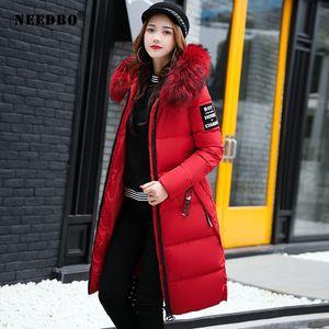 Needbo jaqueta de inverno mulheres mulheres coleira de pele longa parka morno magro mulher casacos de inverno e baiacado acolchoado outwear longo casaco mulheres lj200929