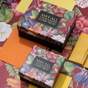 Ins Свадьба День рождения Мода Зеленый цветок тропический лес Пакет Wallet пояса Hat Прямоугольник Картон Бумага Подарочная коробка