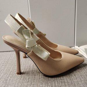 Sommer Damen Sandalen Stiletto High Heel Designer Sandalen spitzige Zehe Schöne Mode High Heels Bowknot Leinwand Damenschuhe