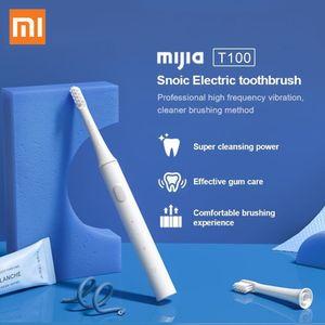 Xiaomi Mijia T100 سونيك فرشاة الأسنان الكهربائية مي فرشاة الأسنان الذكية الملونة usb قابلة للشحن IPX7 للماء لدرجة أسنان الرأس