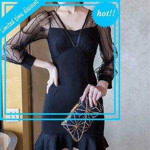 Autunno 2020 New Ladies 'Ruffle Hip Fishtail Skirt Abito a maniche lunghe 8136
